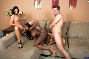 ebony mother and daughter threesome